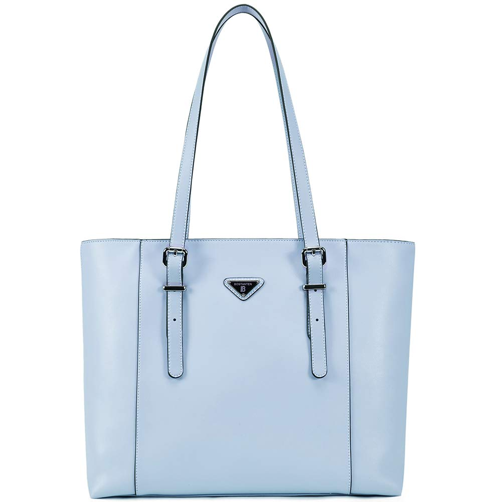 BOSTANTEN Women Briefcase Leather Laptop Tote Handbags 14''- 15'' Computer Shoulder Bags Light Blue