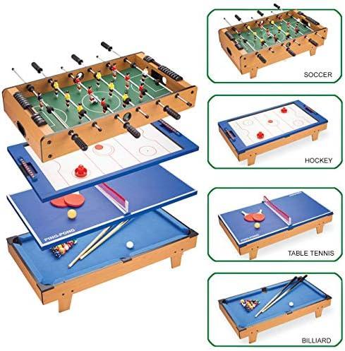 Tafelvoetbalspel, 4-in-1 combinatiespeltafel met tafelvoetbal/ijshockey/tafeltennis/biljart voor volwassenen en kinderen