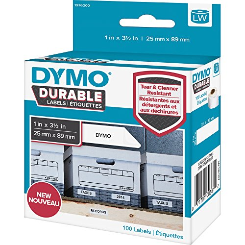 DYMO 1976200 LW Durable Shelving Labels, 1 x 3 1/2, 100/Roll