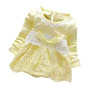 Sharemen Baby Girls Lace Dress Party Dress (Yellow, 0-6 Months)