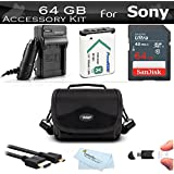 64GB Accessories Bundle Kit For Sony DSC-RX100 IV, DSC-RX100 V, DSC-RX100M IV, DSC-RX100M III Camera Includes 64GB High Speed SD Card + Replacement NP-BX1, NP-BX1/M8 Battery + Charger + Case + More