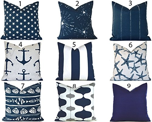 Outdoor Decorative Throw Pillow Cover Any Size OD Navy Blue