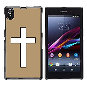 Graphic4You Cross Design Hard Case Cover for Sony Xperia Z1 (Tan)