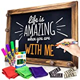 """Shefio Large Framed Chalkboard Sign - Wall Hanging Magnetic Blackboard with Rustic Handmade """"Burnt"""" Wood Frame. For Home or Business. 20x30 Inches - Lots of Free Bonus Accessories"""
