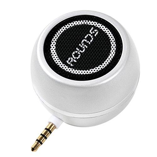 [해외] ROUNDS 포터블 스피커 미니 스마트폰스피커 USB충전 ANDROID IPHONE PC용 휴대용 테블릿용 스피커 30W 고음질 소형으로 대음량 미니 스피커 모바일 스피커 실버 스마트 폰