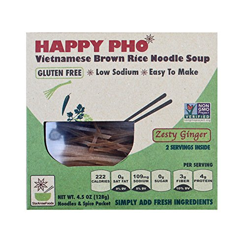 Star Anise Foods - NON GMO Gluten Free Vietnamese HAPPY PHO Zesty Ginger - 4.5 oz/2 Servings per box, Pack of 6 boxes