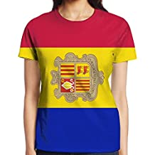 Yongchuang Feng Andorra Flags Women's Printed Pullover Casual Tees Short Sleeve T-Shirt For Youth Girls