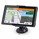 NAVRUF GPS Navigation for car Spoken Turn- to-Turn Traffic Alert 7 inch Built-in 8GB GPS Navigator, with Sun Shade &Lifetime Map Updates (Black)