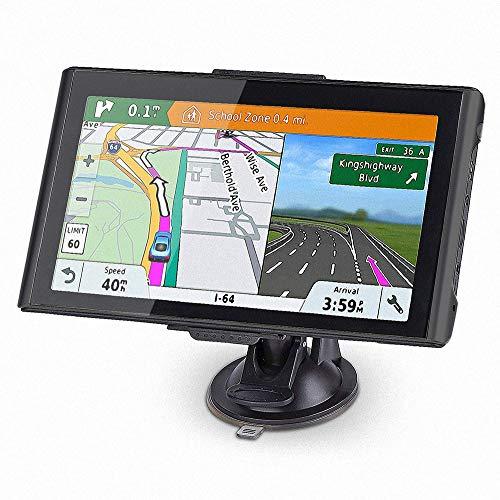 NAVRUF GPS Navigation for car Spoken Turn- to-Turn Traffic Alert 7 inch Built-in 8GB GPS Navigator, with Sun Shade &Lifetime Map Updates (Black)