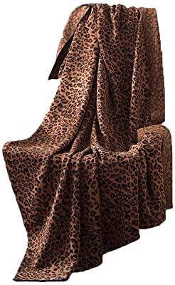 "DANGTOP Knitted Throw Blanket Leopard Pattern with Natural Cotton Christmas Blanket for Bed and Couch (Coffee Leopard,51""x71"")"