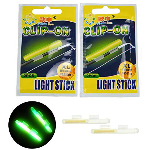 thkfish Fishing Glow Sticks Rod Tip Glow Sticks Fishing Rod Floats Glow Sticks Fishing Rod Night Fishing Light Fishing Green Fluorescent Light 20pcs(10bags) #L