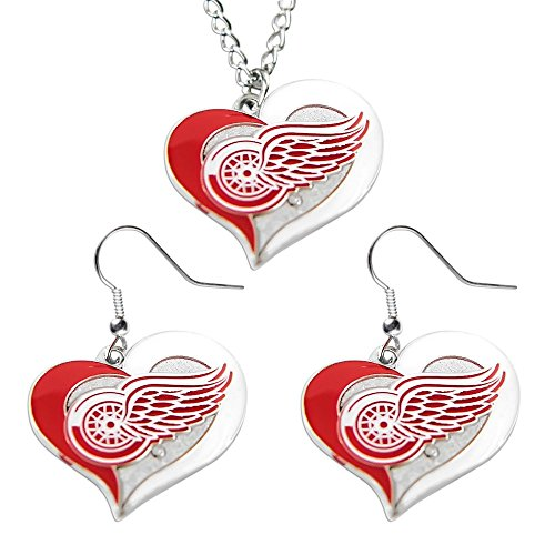 Detroit Red Wings Logo Charm (NHL Detroit Red Wings Swirl Heart Necklace and Earring Set Charm Gift)