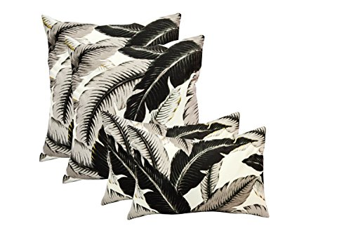 Onyx Leaves - Set of 4 Indoor / Outdoor Pillows - 17