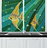 Ambesonne Mosaic Kitchen Curtains, Fish with Long Fins Fractal Underwater Marine Art Display, Window Drapes 2 Panels Set for Kitchen Cafe, 55W X 39L Inches, Forest Green Teal Turquoise Mustard For Sale