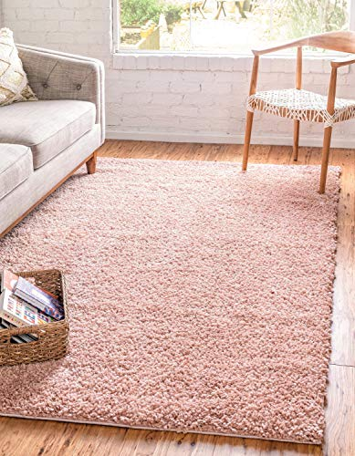 Carpet Rose - Unique Loom Davos Shag Collection Contemporary Soft Cozy Solid Shag Dusty Rose Area Rug (8' 0 x 10' 0)