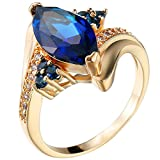 XAHH Women Fashion Gold Plated Ring Blue Sapphire Crystal Cubic Zirconia CZ Engagement Wedding Band 7