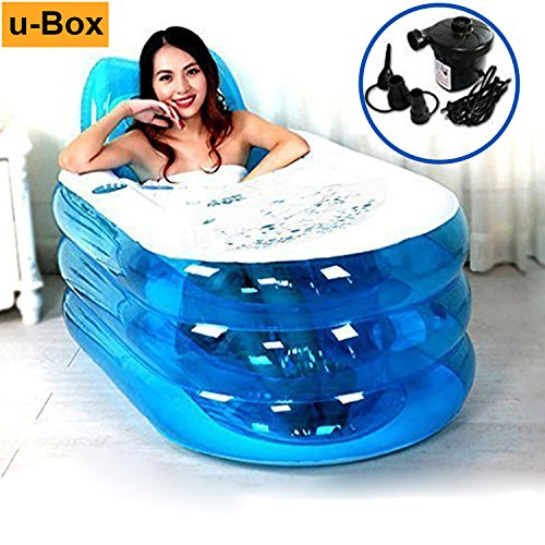 u-Box Foldable Inflatable Bath Tub Durable Adult SPA Bathtub w/Electric Air Pump - Blue -