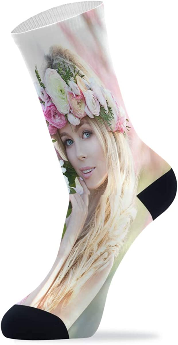 Young Beautiful Blonde Woman In Blooming Garden Athletic Hiking Socks Novelty Funny Crew Socks for Mens Womens Unisex