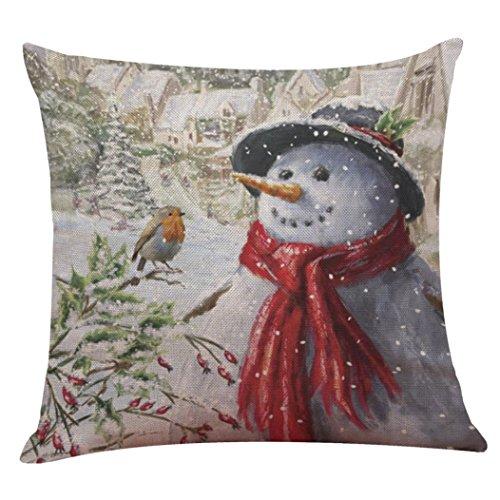 Inverlee Christmas Santa Claus and Snowman Cotton Linen Pillow Case Sofa Cushion Cover Home Decor (D)