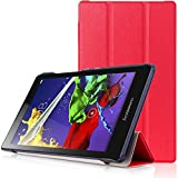 Lenovo Tab 2 A8 & Lenovo Tab 3 A8 Case - HOTCOOL Ultra Slim Lightweight Stand Cover Case For Lenovo Tab 2 A8-50 & Lenovo Tab 3 A8 Tablet, Red