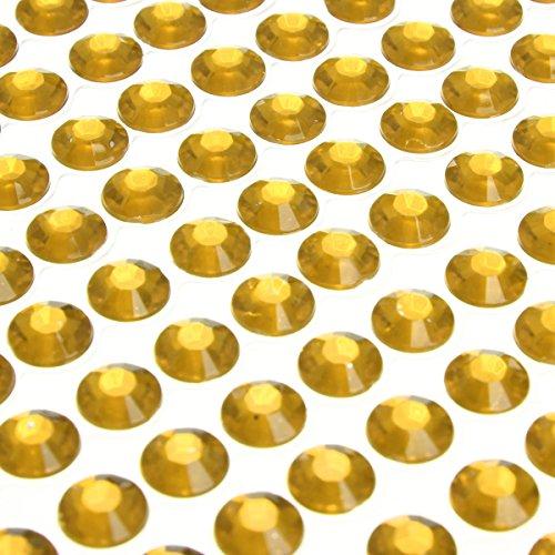 504pcs of 6mm DIY Self Adhesive Rhinestone Crystal Bling Stickers Phone PC Car Decor (Gold)
