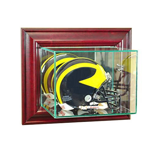 Football Mini Helmet Wall Mounted Glass Display Case with Cherry Frame