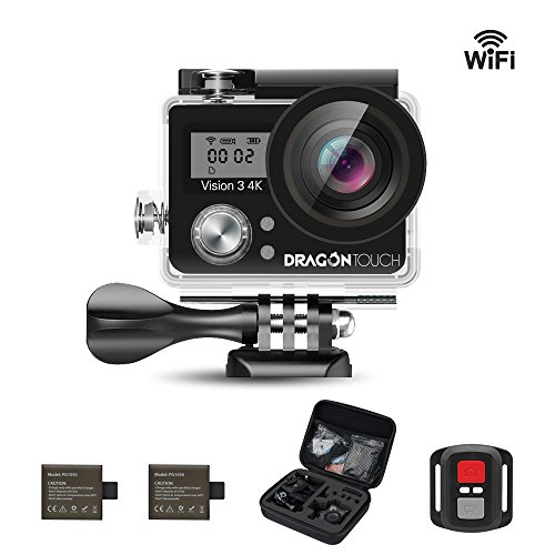 Dragon Touch Vision 3 4K Sports Action Camera Ultra HD 30m Underwater Waterproof WiFi 16MP DV Camcorder 170 Degree Wide 2 inch LCD Screen/Remote Control/ 2 Rechargeable Batteries/ 19 Mounting Kits