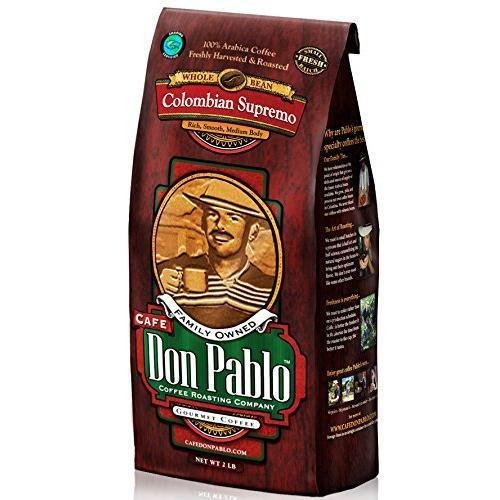 Cafe Don Pablo Gourmet Coffee Medium-Dark Roast Whole Bean Colombian Supremo