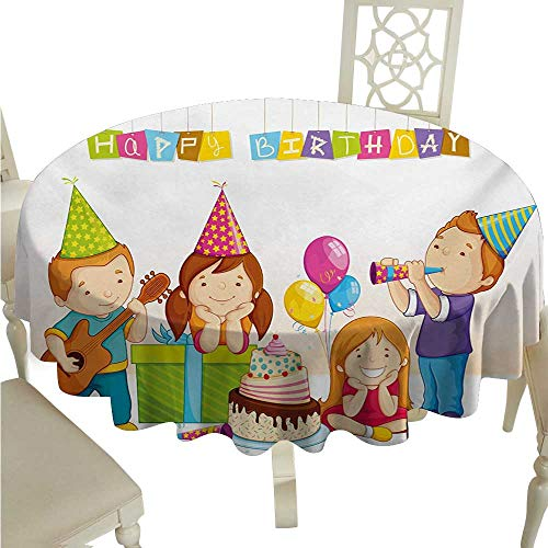 (Kids Birthday Round Polyester Tablecloth Colorful Kindergarten Party Cone Hats Cake Boxes Music Celebration Print Great for Buffet Table D54 Multicolor)