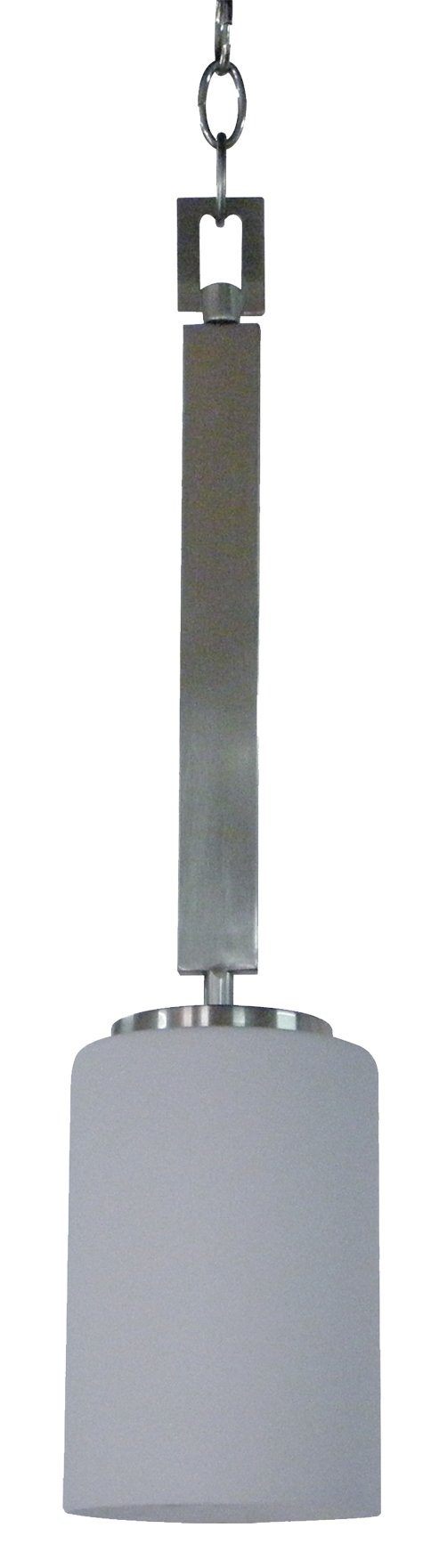Whitfield PT1986-5SS Christine 4.5-Inch One-Light Pendant, Satin Steel with Dove White Glass