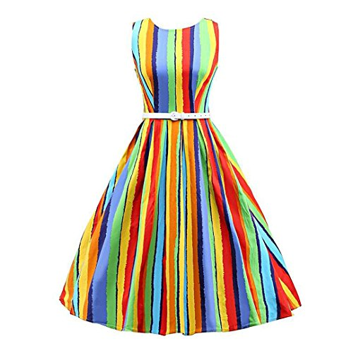 Womens Dresses Rainbow Belt Clothing (Novia's Choice Women Vintage Boatneck Cocktail Swing Dress 1950s Classy Party Dress with Belt(Colorful Stripe XXL))