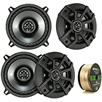 Car Speaker Package Of 4x Kicker 43CSC5 450-Watt 5-1/4 Inch CS Series 2-Way Black Car Coaxial Speakers - Bundle Combo With Enrock 50 Foot 14 Gauge Speaker Wire