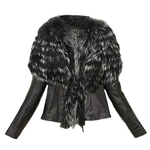 QitunC Women's Short Faux Fur Collar Simulation Leather Casual Jacket Plus Size Black