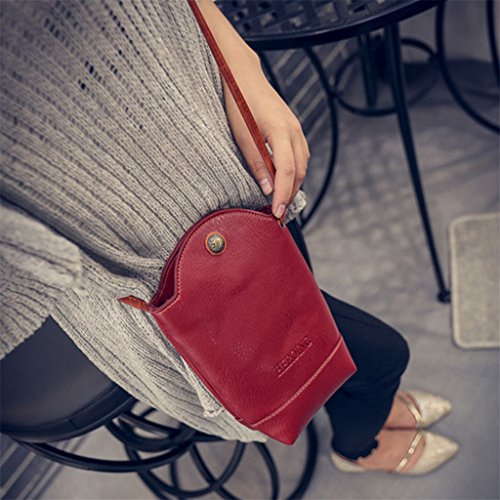 Women's Mini Leather Red Bag Wine Cross Body Bucket Bag Purse Phone Fashion Gift Faux q5Bwqd