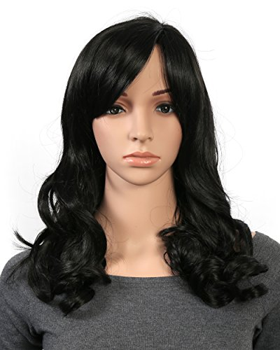 OneDor Full Head Beautiful Long Curly Wave Stunning Wig Charming Curly Costume Wigs with Fringe (1B# - Off Black) (Beautiful Wig)