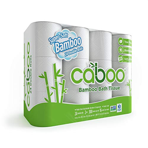 (Caboo Tree-Free Bamboo Toilet Paper, 24 Double Rolls, Septic Safe Biodegradable Bath Tissue with Eco Friendly Soft 2 Ply Sheets)