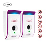 electronic squirrel repeller - Ultrasonic Pest Repeller, Pest Reject Squirrels Repeller Mosquitoes Mice Spiders Rats Rodents Bugs Repellent Plug in with Night Light Indoor use(2, Purple)