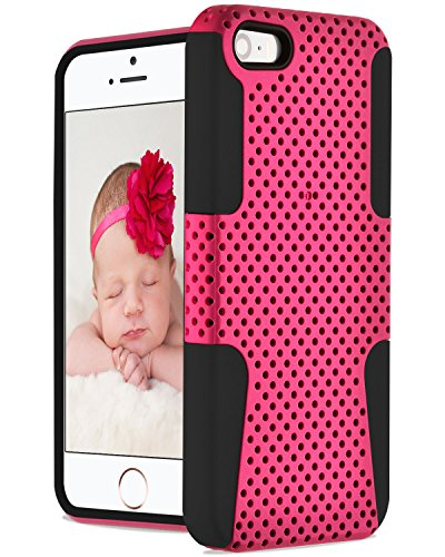 iPhone Case SE, Hybrid Case Fosmon Hybo Series Mesh Design for Apple iPhone SE (Rose / Noir)