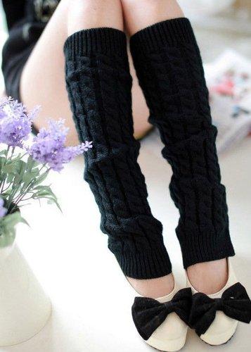 Knit Crochet High Knee Leg Warmers Leggings Socks 5 colors (Lace Trim Japan)