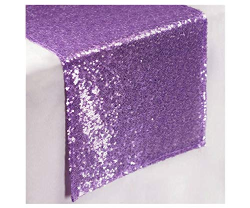 ShinyBeauty Lavender Runners 13x108-Inch Sequin Table Runners Lilac Sweet 16 Decorations (Pack of 1) ~0103S