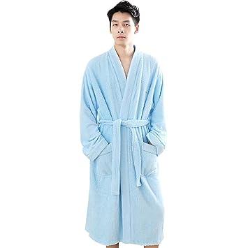 Albornoz Batas De Baño para Hombres Batas De Baño Pijamas Moda De Lujo Servicio Suave Y Largo para El Hogar Bolsillos Y Cinturones Casuales Hotel (Tamaño ...