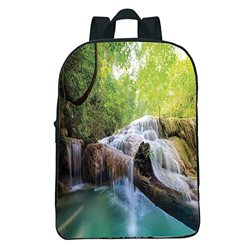 3D Print Design Mini Black knapsack,Waterfall,Landscape Flowing Water Erawan Cascade in Rain Forest,Light Green Turquoise Brown Children,Comfortable Design.11.8