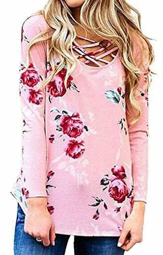 Walant Womens Floral Printed Long Sleeve Criss Cross V-Neck Casual Tops T-Shirt Pink Large (Top Floral Pink Shirt)