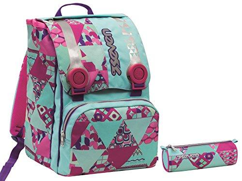 9aaba88b10 Zaino scuola sdoppiabile Big + Portapenne - SEVEN HIPPY - estensibile -  Azzurro Rosa - elementari