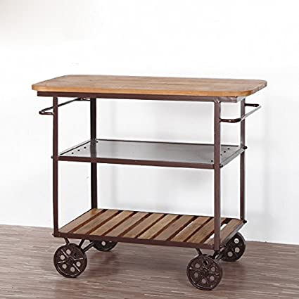 WGX Dining Rooms Bar Serving Trolley Cart Wine On Wheels Rolling Shelf