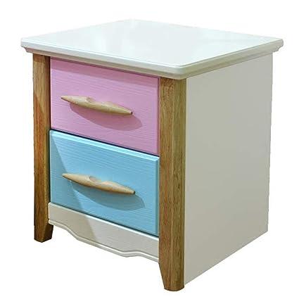 Amazon.com: Bedside Table GJM Shop Childrenu0027s Bedside Cabinet Pink + Blue  Double Drawers Lockers Light Cabinet: Kitchen U0026 Dining
