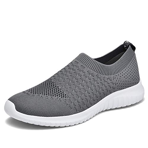 TIOSEBON Women's Walking Shoes Lightweight Breathable Flyknit Yoga Travel Sneakers 12 US Deep Gray