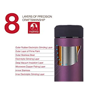 TOMIC Stainless Steel Thermos 16 Oz. Double Wall Vacuum Insulated with 18/8 Steel - Keeps Drinks Hot or Cold for 12 Hours. Travel Mug, Tumbler or Water Bottle with a removable Tea Strainer (Purple)