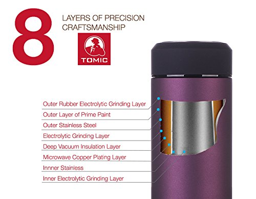 TOMIC Stainless metal Thermos 16 Oz rise Wall upright vacuum cleaner Insulated having 18 8 metal maintains Drinks tremendously hot or Cold for 12 Hours and leisure Mug Tumbler or norma bottle of wine having a totally removable Tea Strainer Purple Thermoses