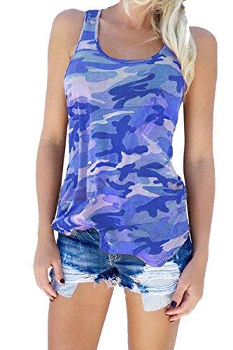 Size Plus Blue Camuflaje Tank Mujeres Casual Yulinge Verano Tops Sleeveless Top 76O1gzMqw